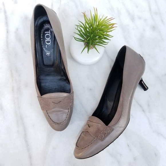 f470e557d446 TOD S Penny Loafer Pump Kitten Driver Heels Taupe.  M 5bd7506c3c9844fb9b6cc3fe